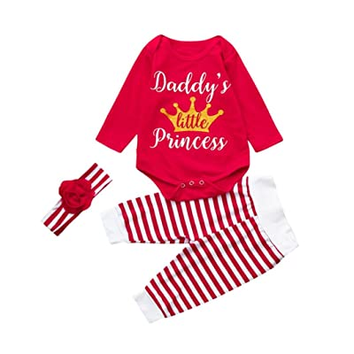 3Pcs Christmas Set Toddler Baby Print Long Sleeve Romper+Striped Pants Clothes