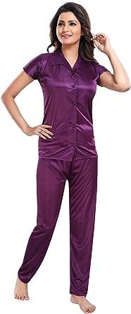 Be You Camisa de satén para Mujer y Traje de Noche de Pijama (púrpura, Talla: l): Amazon.es: Ropa y accesorios
