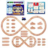 Tiny Conductors 67 Piece Wooden Train Track Set with Train Car 100% Real Wood, Compatible with Thomas and All Other Major Brands Wooden Toy Railroad Sets (67-Piece)