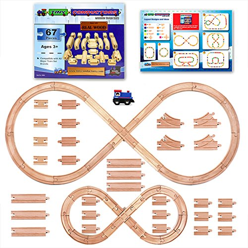 Tiny Conductors 67 Piece Wooden Train Track Set with Train Car 100% Real Wood, Compatible with Thomas and All Other Major Brands Wooden Toy Railroad Sets ()