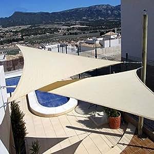 E.YISIN Sun Shade Sail 16'x16'x16 Uv Top Outdoor Canopy Patio Lawn Triangle Beige Shade canopy Sun Shelter
