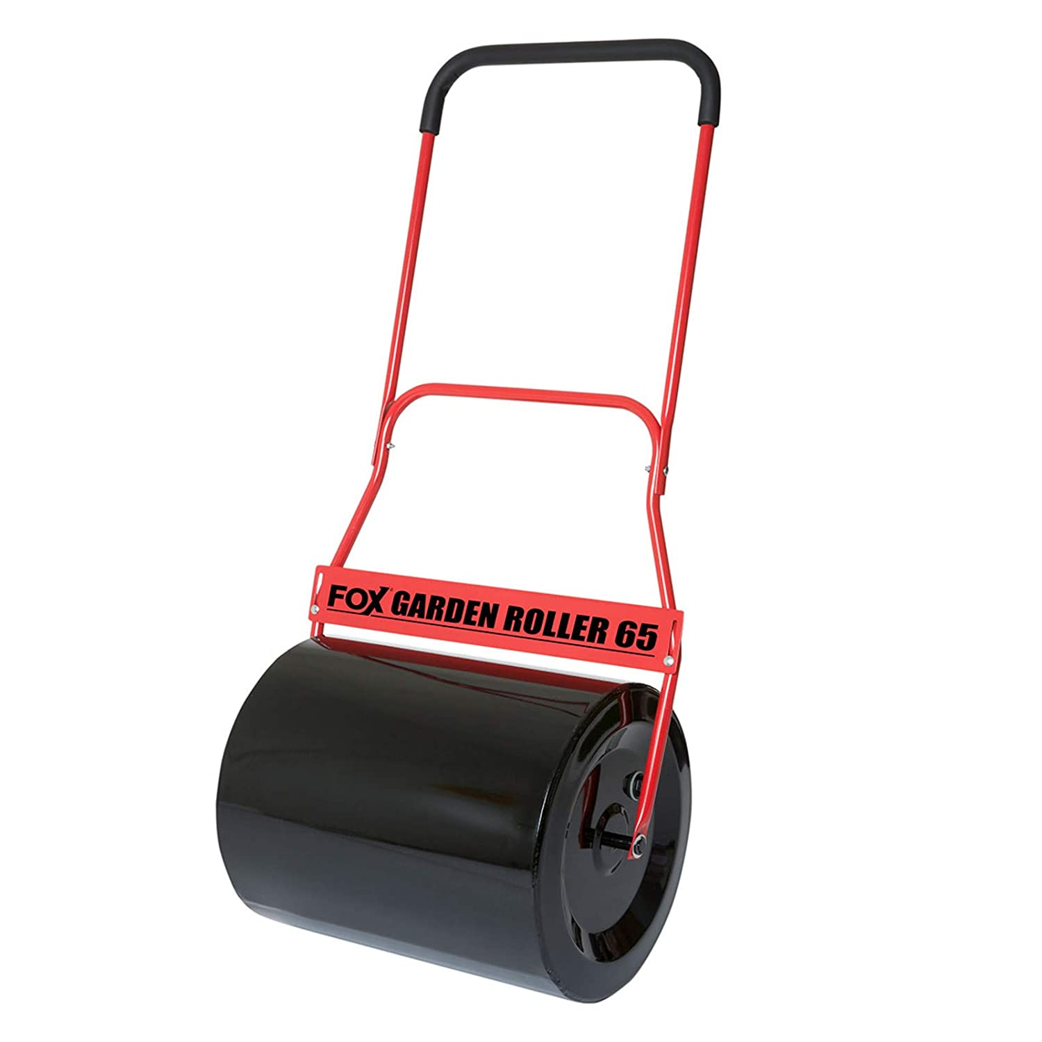 FOX 65 Litre Steel Garden Lawn Roller Heavy Duty 100% Steel 500mm Working Width with Comfort Soft Grip and Scraper Bar - Fill With Water/Sand / Cement