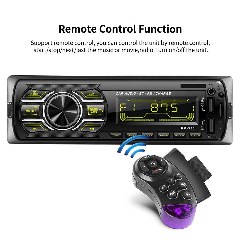 Autoradio Bluetooth Stereo da auto Lettore MP3 WMA Car Radio Ricevitore handsfree Telecomando sul volante per telefono USB//SD//FM//Funzione AUX Car Stereo