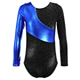 TFJH E Metallic Foil Dancing Gymnastics Outfits One-Piece Athletic Clothing for Little Kids 140 Blue 150