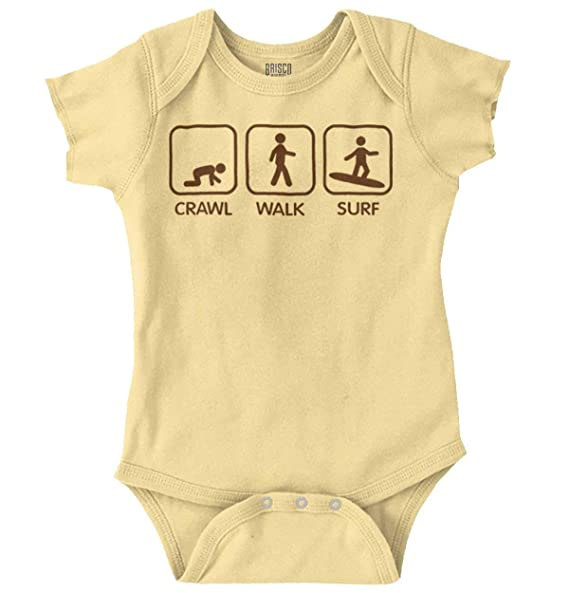 1e8e2a5ea Image Unavailable. Image not available for. Color: Crawl Walk Surf Cute  Ocean Beach Baby Romper Bodysuit