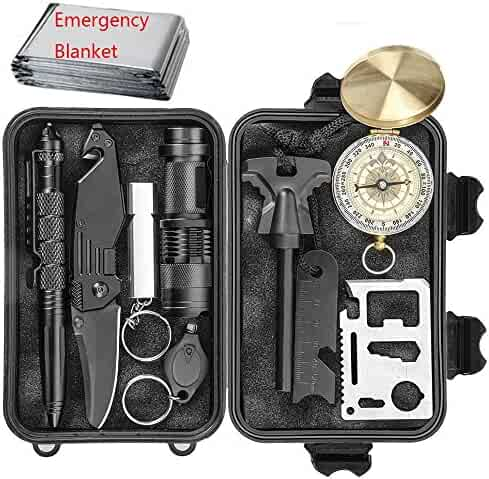 EILIKS Emergency Survival Kits, CHANGKU Multi Professional Tactical Kit Outdoor Survival Gear Kit for Traveling Hiking Biking Climbing Hunting