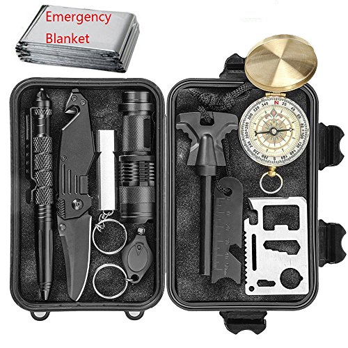 CHANGKU EILIKS Emergency Survival Kits 11 in 1, CHANGKU Multi Professional Tactical Kit Outdoor Survival Gear Kit for Traveling Hiking Biking Climbing Hunting - Clip Blade Butterfly Knife