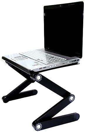 """sojitek plateado y negro plegable y ajustable con ventilación para ordenador portátil hasta 17 """""""
