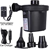 Portable Electric AirPump Inflator Mains Plug Car Charger Camping Air Bed Toy UK