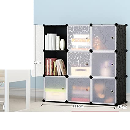JXBOOS Simple BookcaseFree Combination Storage Assembly Cabinet Plastic Bookshelf Floor Standing