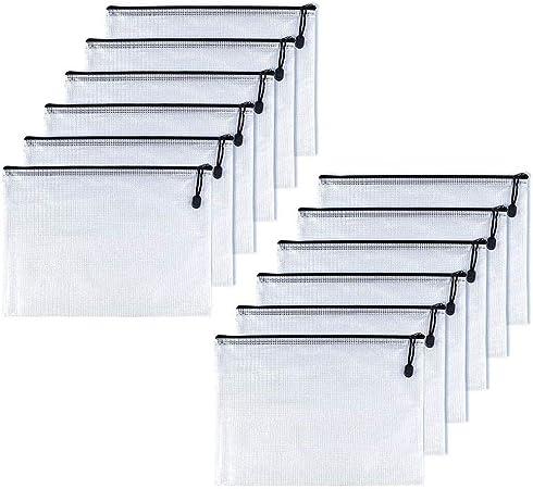 OAIMYY B6-Waterproof Tear-Resistant Plastic Zipper Pen File Document Folders Pockets Travel Bags,12-Pcs,Black-7.87