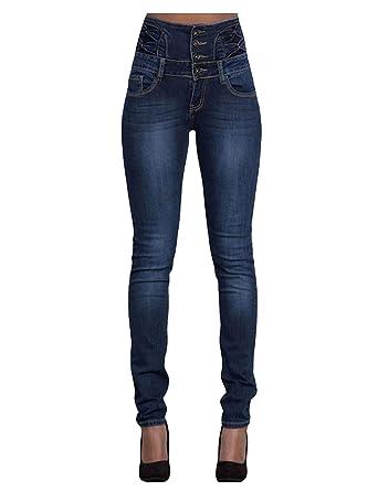 Wert für Geld 50-70% Rabatt feinste Stoffe Damen Jeans Mode Skinny Hochbund Jeanshose Knopfleiste Slim ...