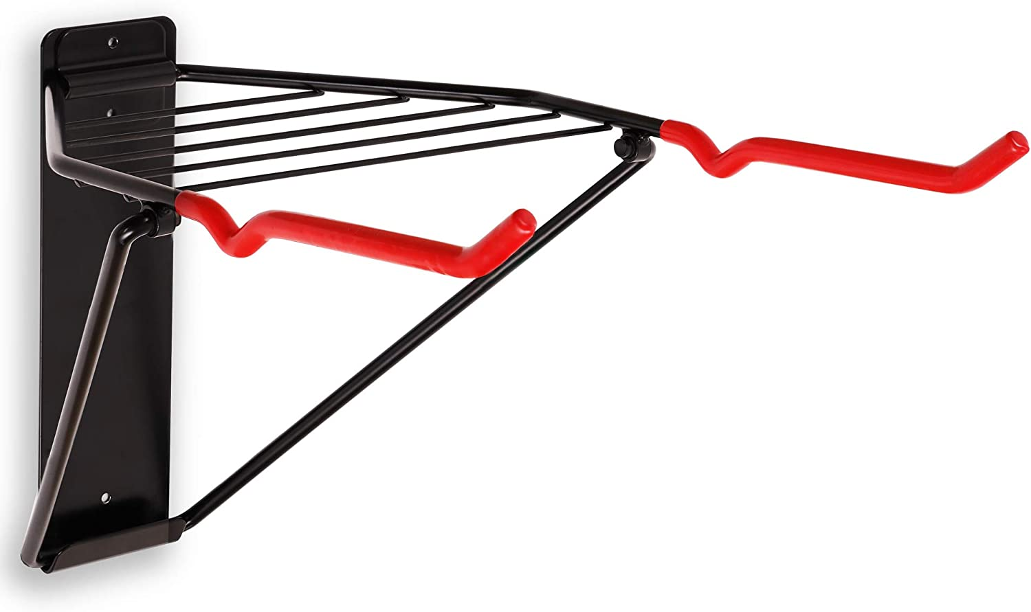 Wall Mount 2 Bikes Horizontal Indoor Storage Folding Rack Bicycle in Garage or Home – Cycling Hanger – Secure Holder – Hook for Road MTB Bikes -Shelf for Additional Storage of Helmets Clothing Shoes