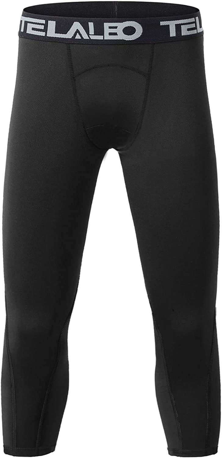 TELALEO Boys Youth Compression Pants Base Layer 3/4 Sports Tights Running Leggings Capris Kids for Workout Training: Clothing