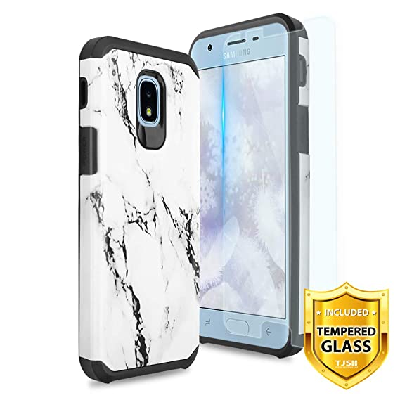 TJS Galaxy J3 2018/J3 V 2018/J337/Express Prime 3/J3 Star/J3 Orbit/J3 Achieve/J3 Prime 2/Amp Prime 3/Sol 3 Case, with [Tempered Glass Screen ...