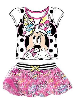 Minnie Mouse manga de malla camiseta y traje de falda de impresi ...
