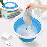 Portable Folding Washing Machine, 10 Watts 10L Mini Ultrasonic Turbine Bucket Washer with USB Plug, Travel Laundry Washer for