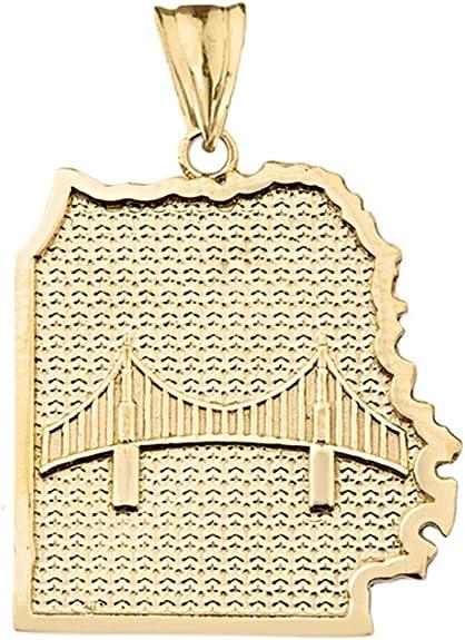 29mm Ladies 14K Yellow Gold San Francisco Golden Gate Bridge 3D Charm Pendant