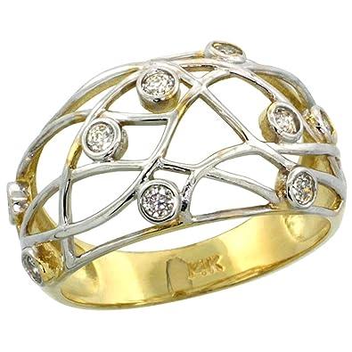 14 ct Gold Draht Dome Diamant Ring w/0,32 Karat Brillantschliff (H-I ...