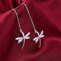 jindarat 925 Silver Dragonfly Design Shape Drop Dangle Hook Earrings womens jewelry