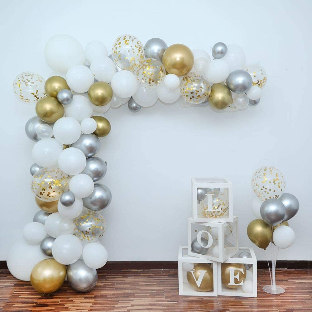 Bride Shower,Wedding Graduation Party Decorations Anniversary Balloon Arch Garland Kit,110 PCS 10in 12in 18in White Gold Silver Party Balloons with 4PCS Balloon Decorating Kit for Baby Shower