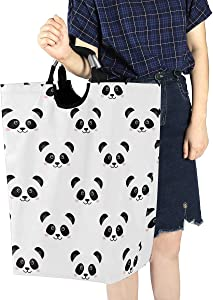 ALAZA Stylish Cute Panda Face Emoji Large Laundry Hamper Bag Collapsible with Handles Waterproof Durable Clothes Round Washing Bin Dirty Baskets Organization for Home Bathroom Dorm College