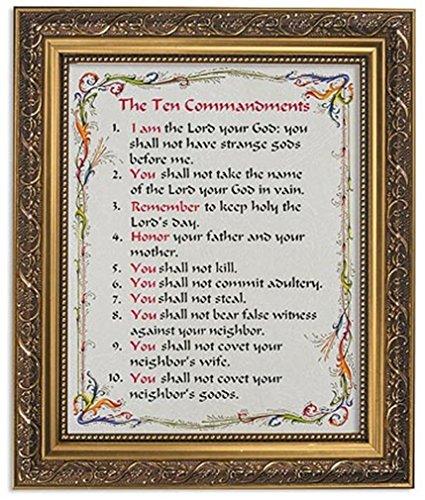 Commandments Photo Ten - Gerffert Collection The Ten Commandments Framed Writen Inspirational Print, 13 Inch (Ornate Gold Tone Finish Frame)