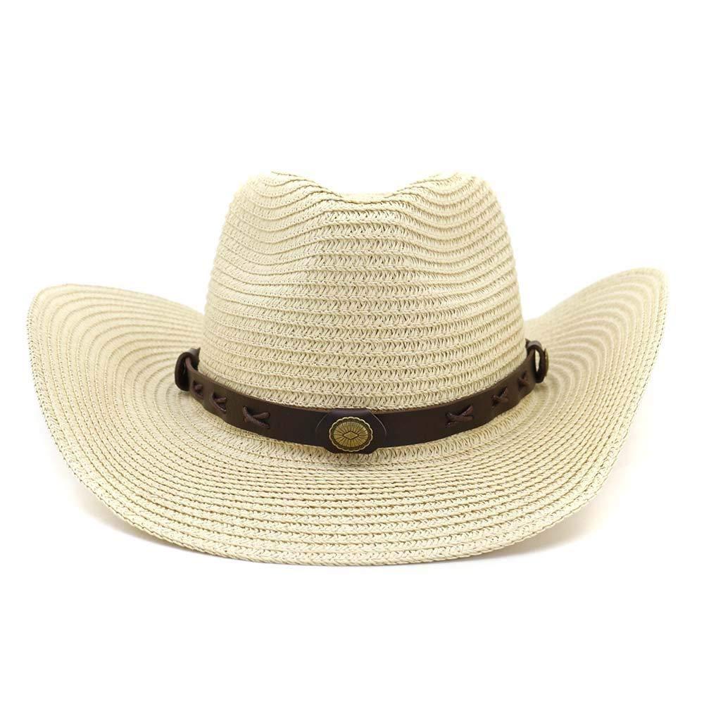 Zhanying Kopfumfang einstellbare Fr/ühling Sommer Meer im Freien Sonnenhut l/ässig Klassische Damen M/ädchen Cowboy Sonnenhut Strandurlaub Color : Beige