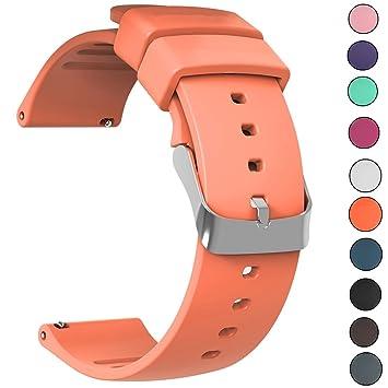 JIELIELE Watch Straps Repuesto de Correa, Reloj de Silicona con Acero Inoxidable de Abrochar para Relojes y Smartwatch 20mm (20mm, Orange)