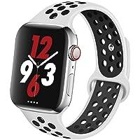 Apple Watch Silikon Kordon Spor Kayış Delikli 38mm 40mm 42mm 44mm 1   2   3   4   5 (42mm/44mm, Beyaz Siyah)