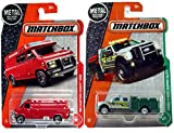 2017 Matchbox #87 '95 Custom Chevy Van with spare tire Rescue & Matchbox 2017 125 Ford F-550 Super Duty - gray / Green in PROTECTIVE CASES