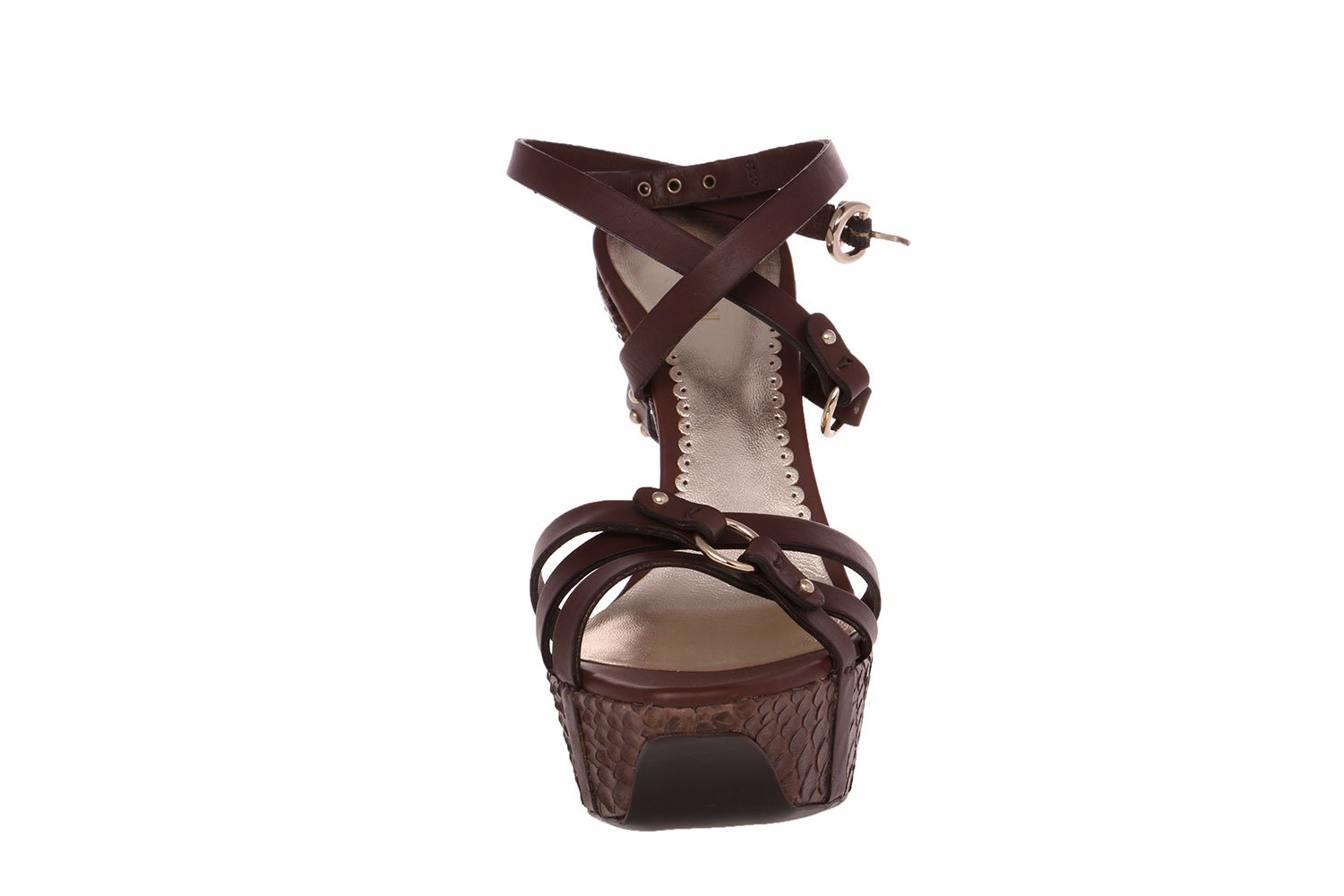 GIORGIO ARMANI Details Women Brown Snake Embossed Platform Wedge Strappy Sandals Shoes B00KJRCZAC 7 B(M) US|Brown