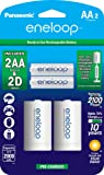 """Panasonic K-KJS1MCA2BA eneloop D Size Battery Adapters with eneloop AA 2100 Cycle Ni- MH Pre-Charged Rechargeable Batteries, 2 Pack with 2""""D"""" Adapters"""