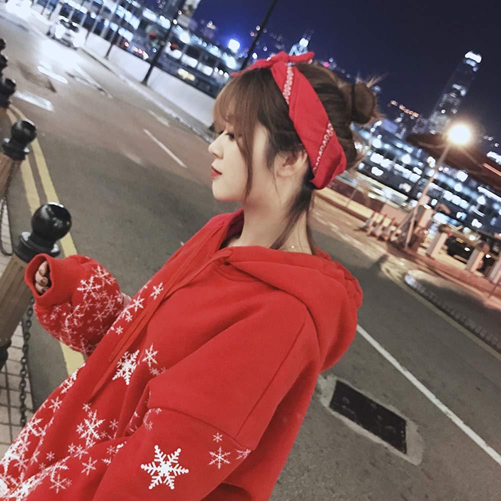 Enfei Womens Patterns Snowflakes Christmas Hooded Long Sleeve Print Sweatshirt Sweater Tops