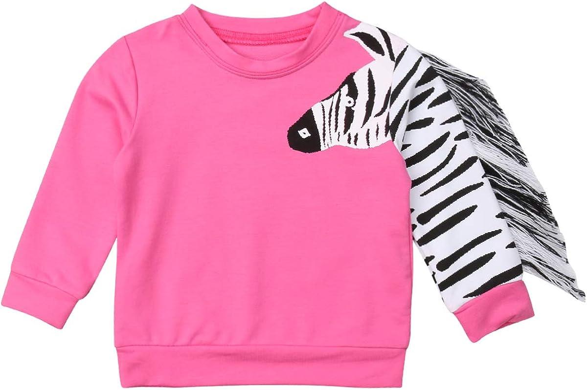 Infant Baby Girl Zebra Tassel Top Long Sleeve Tee Shirt Sweatshirt Clothes