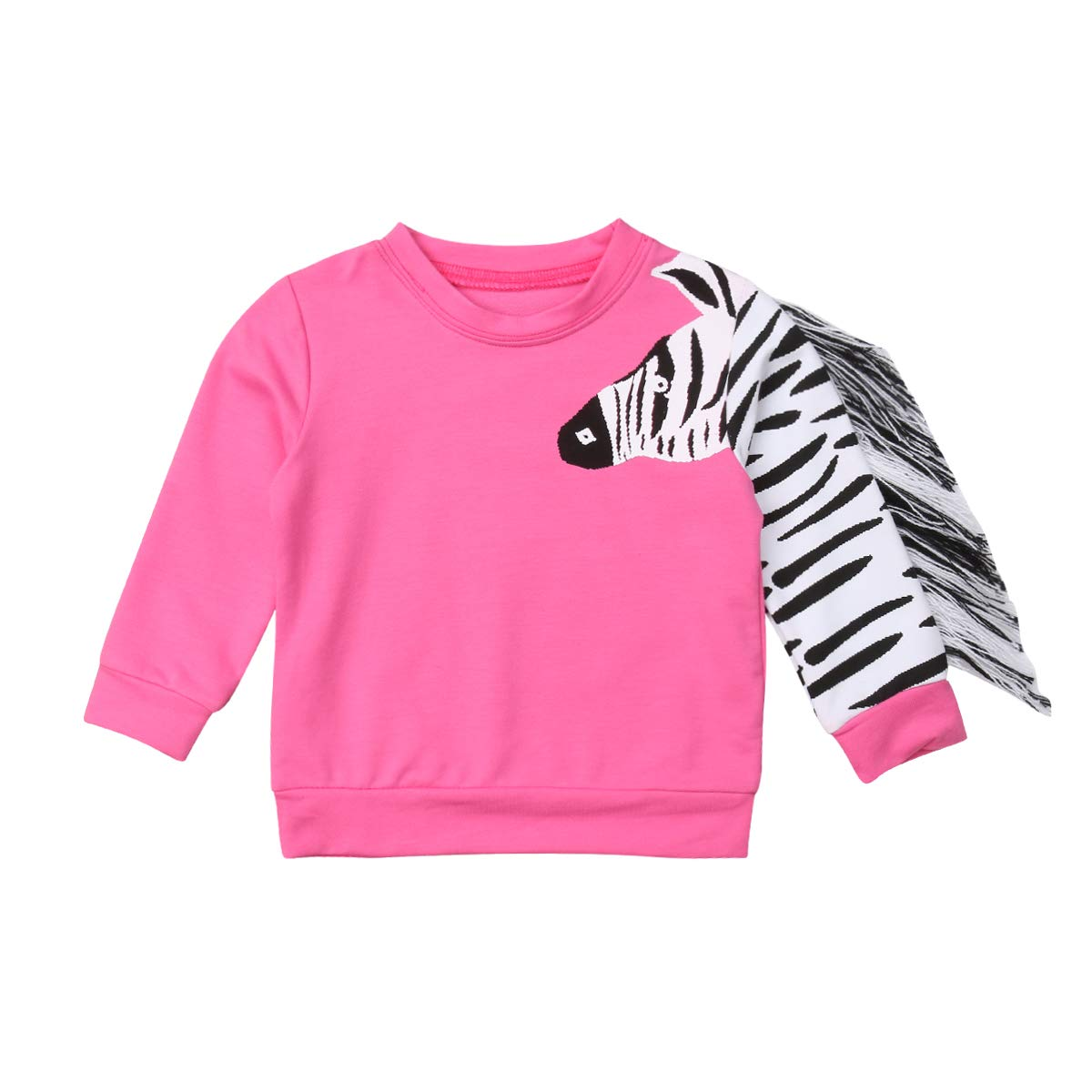 Infant Baby Girl Zebra Tassel Top Long Sleeve Tee Shirt Sweatshirt Clothes