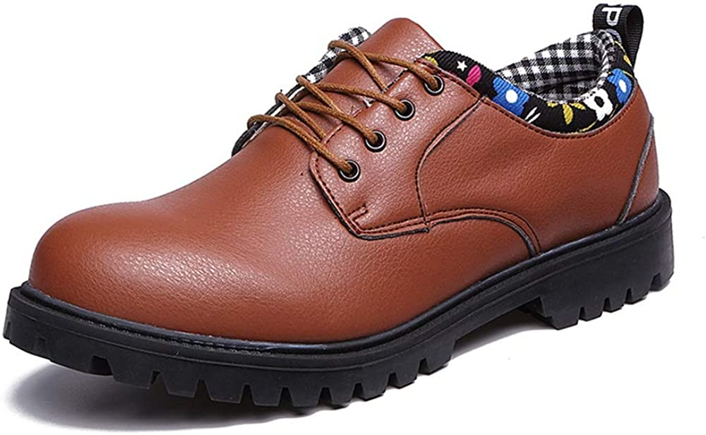 CQIANG Mens Leather Shoes Color : Brown, Size : 9.5 M US Mens Oxford Casual Comfort Low Ankle Boots Microfiber Leather Official Work Shoes Big Round Head Non-Slip Soles Beautiful You