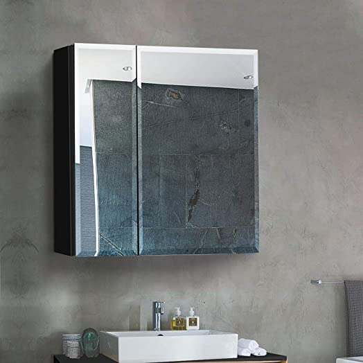 B C 30 x26 Aluminum Medicine Cabinet with Mirror Color Black Bathroom Mirror Cabinet with Adjustable Glass Shelves Storage Cabinet for Bathroom Recessed or Surface Mounting