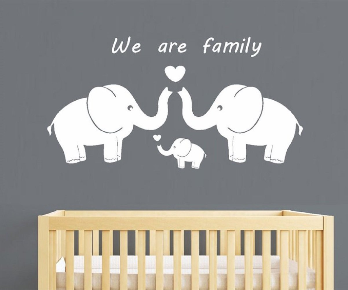 Tres lindos elefantes padres y ni/ño familia Wall Decal somos familia palabras Vinly Wall Decal para Baby Nursery Home decoraton blanco