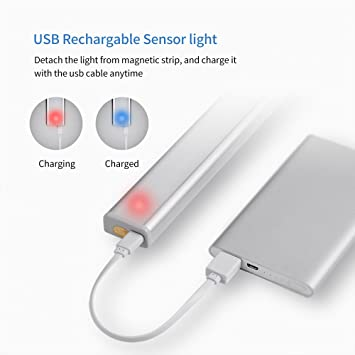 JESWELL Recargable Luz Armario con Interruptor, Lámpara USB LED Barra de Luz LED Nocturna Inalámbrica con Sensor de Movimiento Wireless para Pasillo Baño ...