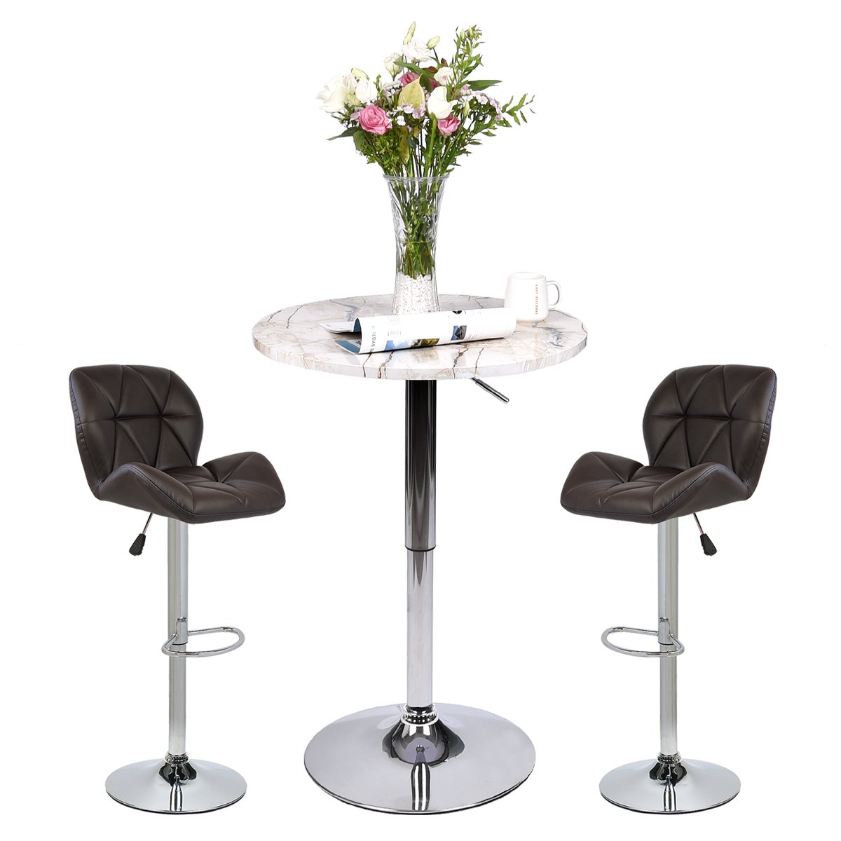 Pub Table Set 3 Piece - 24 inch Round Table with 2 Leatherette Chairs - Height Adjustable (Brown Barstools + Marble Stripe Pub Table)
