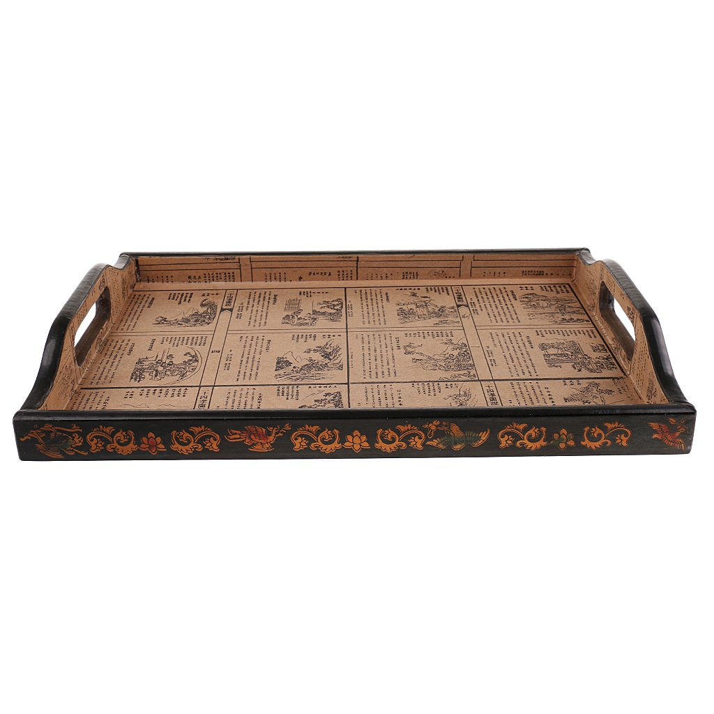 Amazon.com: Baoblaze 1pc Vintage Wooden Tray Storage Box Bandeja Wood Solid Food Plate for Home Tableware Accessory: Kitchen & Dining