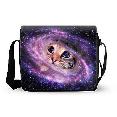 Galaxy Space Cat Messenger Bag,Shoulder Bag Oxford Fabric