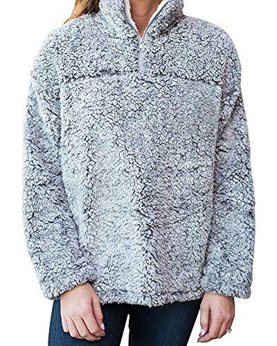 Frosty Pebbles (Pxmoda WomensAutumnWinterPebblePileFleeceSherpaSweatshirtsPullover (Small, Grey))