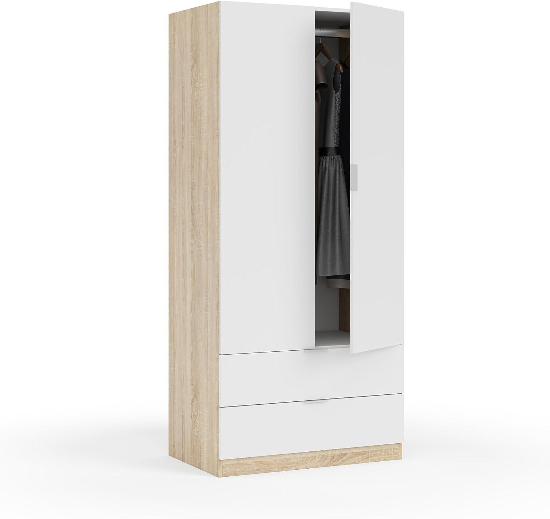 Habitdesign LC1222F - Armario Dos Puertas, Acabado en Color Roble Canadian y Blanco Artik, Medidas: 180 x 81 x 52 cm de Fondo