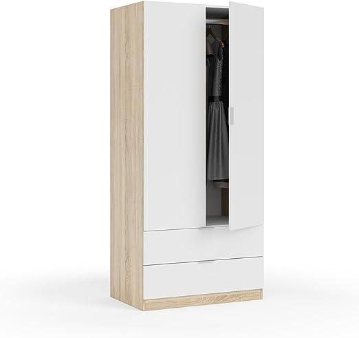 Habitdesign LC1222F - Armario Dos Puertas, Acabado en Color Roble Canadian y Blanco Artik, Medidas: 180 x 81 x 52 cm de Fondo: Amazon.es: Hogar