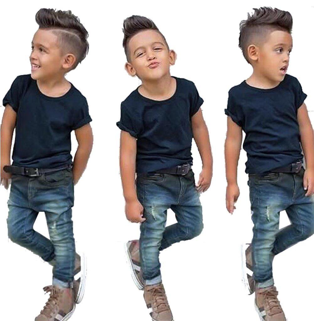 UNIQUEONE 2Pcs Toddler Boys Summer Short Sleeve Top+Hole Denim Long Pant Clothes Outfits Size 18-24 Months/Tag100 (Dark Blue)