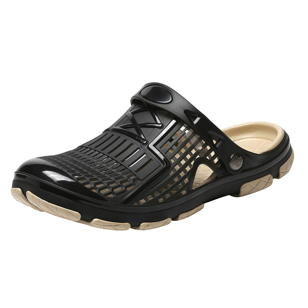 Kauneus Men's Garden Clogs Anti-Slip Beach Shower Sandals Slip on Massage Outdoor Walking Summer Slippers for Men Black