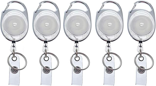 Premium Retractable ID Reels with Carabiner Belt Loop Clip and Heavy Duty Badge Holder Sleeve Vertical Clear Plastic w Resealable Red Zip by Specialist ID 5 Pack Assorted Colors