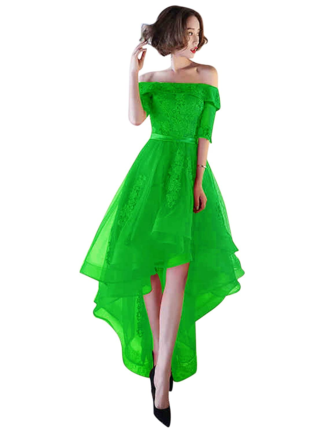 Bright Green BessWedding Women's Tulle High Low Homecoming Dresses Short 2018 Formal Prom Gown BHZ707